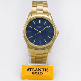Relógio Atlantis Original Dourado Aço Homem Social + Caixa