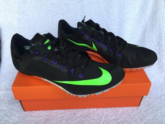 Zapatillas De Atletismo C/clavos. Negra Y Fluo