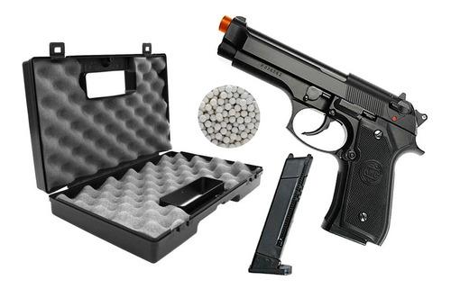 Imagem 1 de 5 de Pistola Airsoft Spring M92 Cano Metal 6mm + Maleta Case + Bb