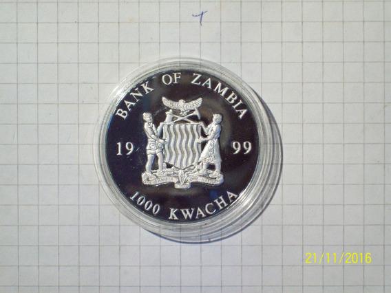 Zambia 1000 Kwacha 1999 Encapsulada Flor De Cuño 100 Euro