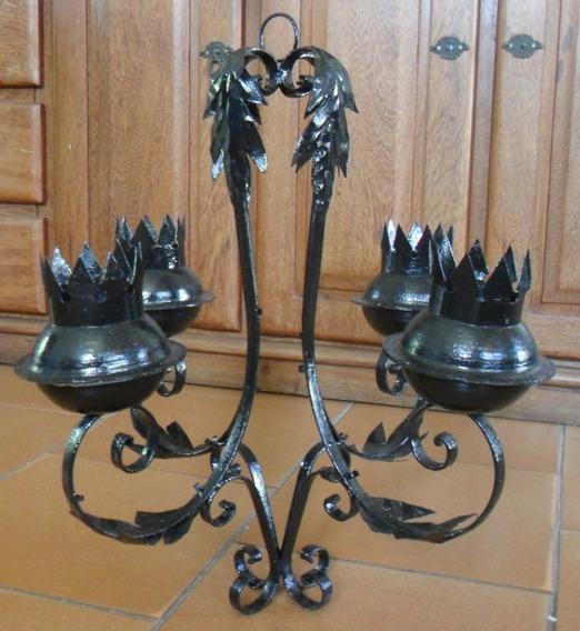Luminaria Lustre Antigo Em Ferro 4 Braços - Art Nouveau!!!