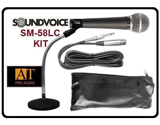 Soundvoice Sm58 Kit Microfone Cabo Pedestal Mesa Loja Rj