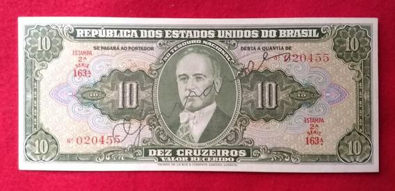Cédula Brasil 10 Cruzeiros Autografada C075