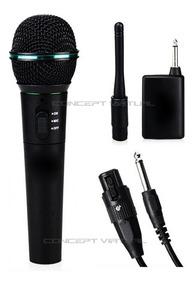 Microfone Sem Fio Profissional Completo + Cabo Transmissor