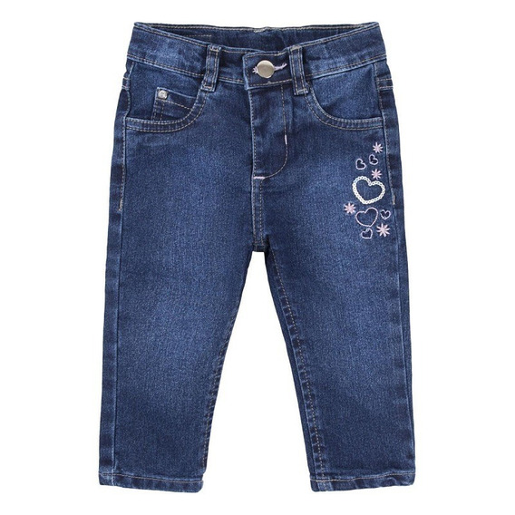 Calça Jeans Bebê Menina Bordada Corações Babygijo