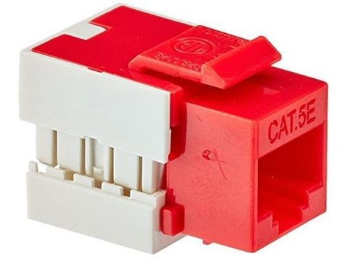 Imagen 1 de 2 de Monoprice Slim Cat5e Punch Down Keystone Jack Red 110045