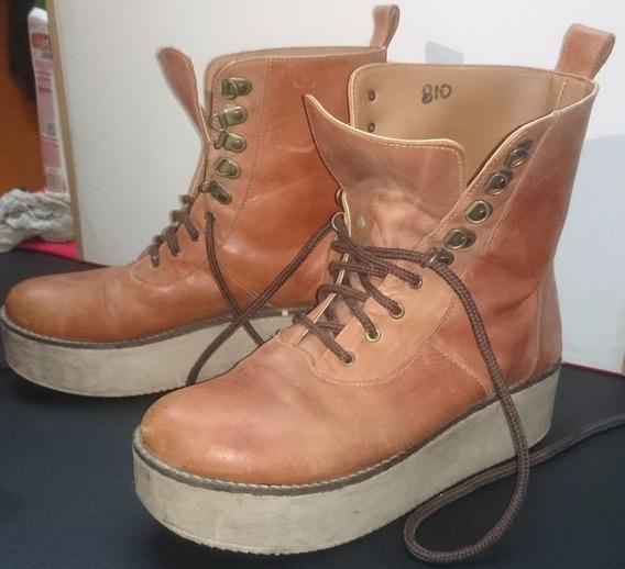 Borcegos Botas Zapatos T 40 Marron Claro Suela Alta