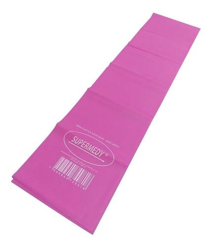 Faixa Elástica Superband Rosa Média 120 X 15 Cm Supermedy