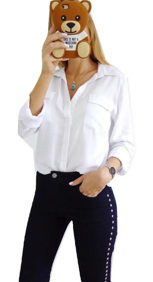Camisa Mujer Manga Larga Vestir Casual Uniforme Blanca Negra Roja Lisa Colores Talles