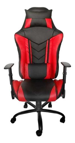Imagen 1 de 2 de Silla de escritorio MRB DG gamer pro basic gamer  negra y roja con tapizado de cuero sintético