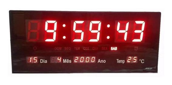 Relógio Digital Parede Led Temperatura Calendário Alarme