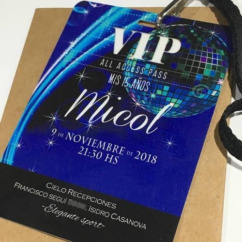 Invitación Vip Simil Pvc 15 Años Pase X50 Cordon C/herraje