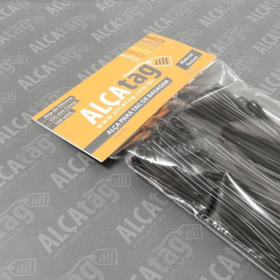 Alça Tag Bagagem Silicone - 16 Cm - Cordão Preto 100 Und
