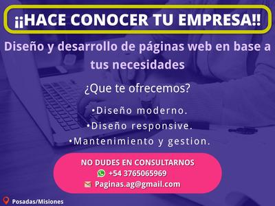 Paginas Web, Diseño Y Desarrollo Web