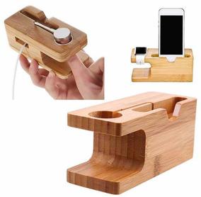Suporte Para Carregamento De Madeira iPhone E Apple Watch