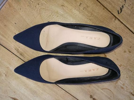 Stilettos Nuevos Zara -gamuzados Azul Oscuro Con Taco Charol