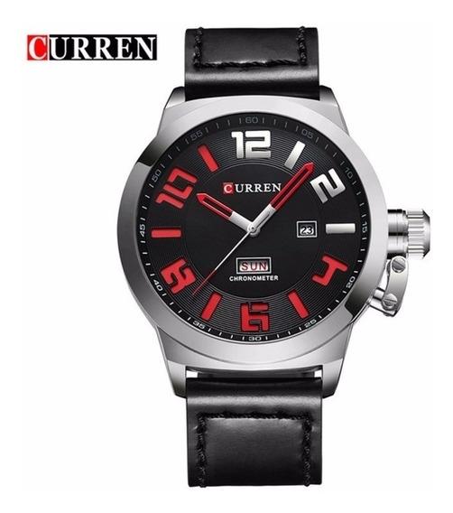 Relógio Curren 8270 Masculino Prata Preto Pulseira De Couro