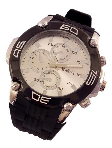 Relógio De Pulso Masculino Novana Pulseira Em Borracha B5706