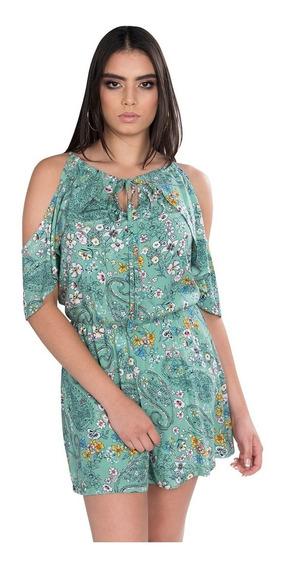 Jumpsuit Corto Short Mujer Casual Flores Moda Verde Y91103