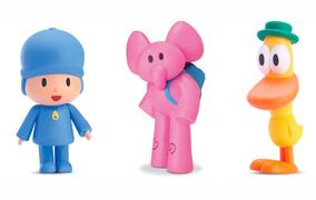 Brinquedos Bebês Meninos Boneco Pocoyo + Elly + Pato Cardoso
