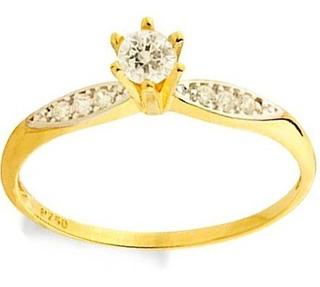 Anel Noivado Solitário Ouro 18k 750 Debutante 15 Anos Luxo