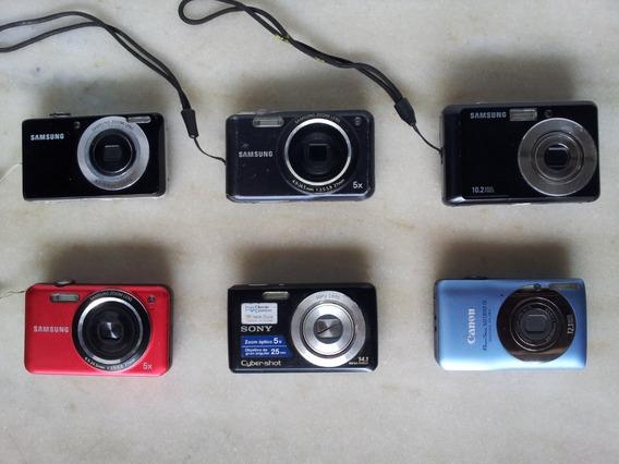 Lote Samsung Sony Canon 6 Câmeras Fotográficas Filmadoras