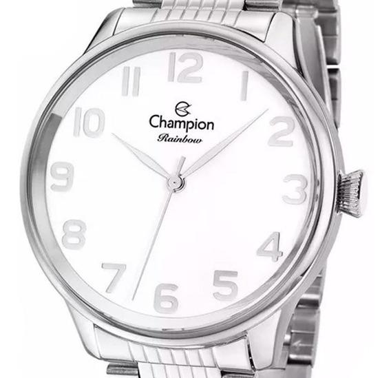 Kit Relógio Champion Feminino Prata E Branco - Cn29919y