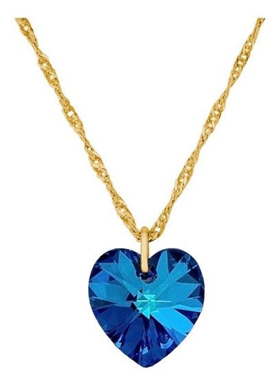 Gargantilha Coração Swarovski Bermuda Blue