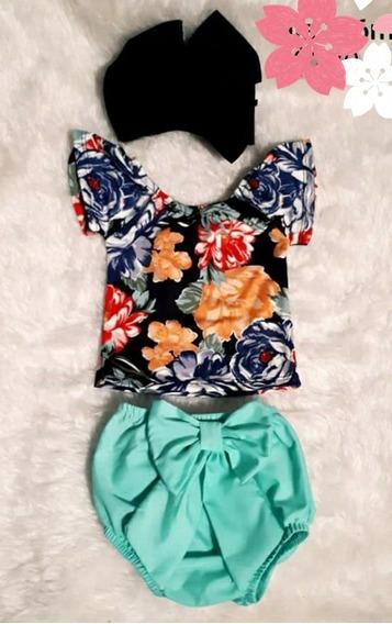 Conjunto Blusa Floral + Diadema Moda Mexicano