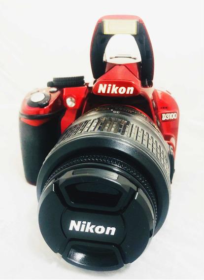Câmera Dslr Nikon D3100 Vermelha Seminova + Lente 18-55 Mm
