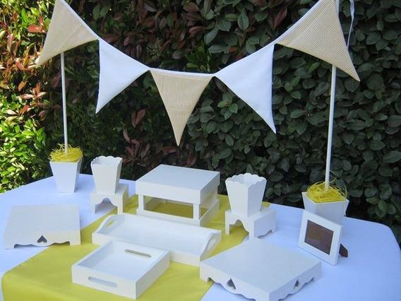 Alquiler Piezas De Candy Bar Blanco Alzadas Mesa Dulce Posa Tortas