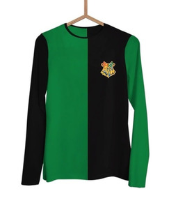 Camisa Manga Longa Harry Potter Tribruxo Sonserina J0075