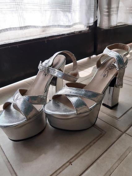 Zapatos De FiestaTalle 38PlateadosUn Solo Uso