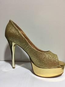 Sandalia Glitter Dourado Miucha Salto 12,5cm