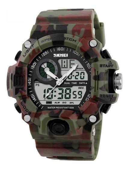 Relógio Masculino Skmei Anadigi 1053 Camuflado Horas Pulso