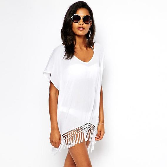 Vestido Túnica Blanco Salida De Playa Alberca Pareo