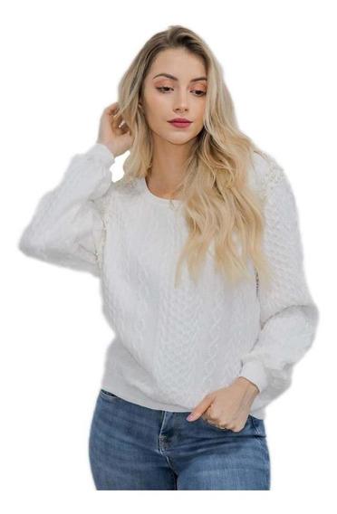 Blusa Frio Feminina Tricot Sueter Branca C/ Perolas Loverly
