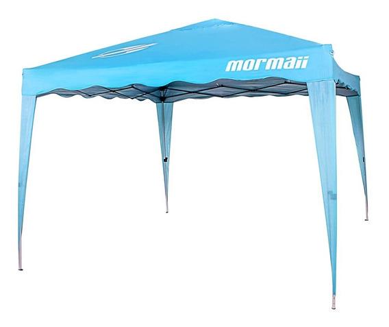 Tenda Gazebo 3x3 M Mormaii Dobrável Sanfonada Azul Turqueza