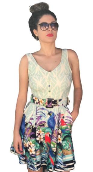 Vestido Rodado Decote Com Botões Cinto Bolsos Bojo Boneca