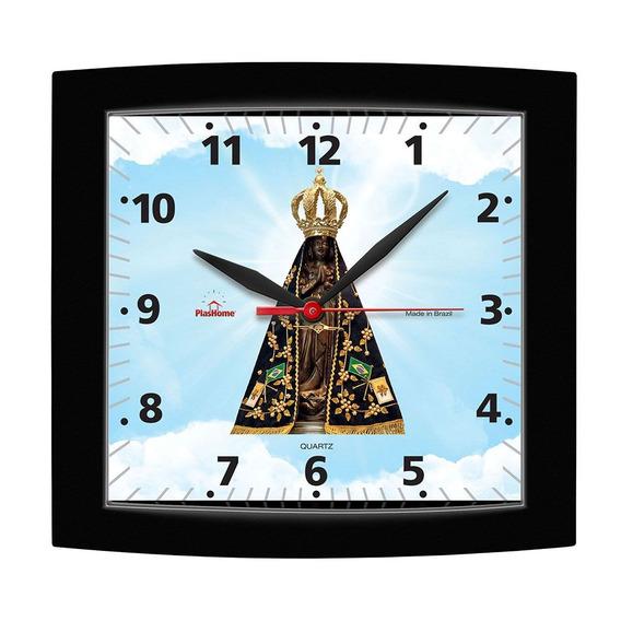 Relógio De Parede Quadrado Alpha Preto Nossa Senhora