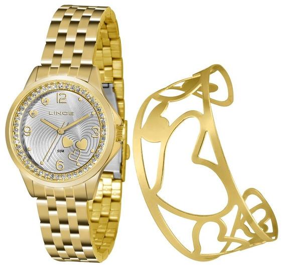 Kit Relogio Lince Feminino Lrg4511l Ku63 Dourado Bracelete