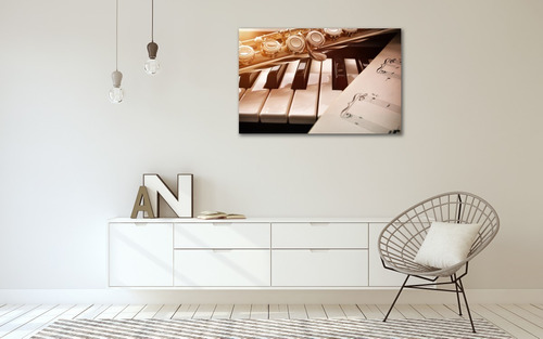 Imagen 1 de 5 de Cuadro Canvas Marco Flot. Piano Flauta & Partitura 65x100cm