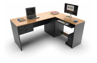 Escritorio En L Puesto De Trabajo Diseño Mesa Pc Archivo !!!