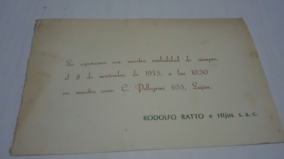 Luján.tarjeta De Invitación.john Deere.rodolfo Ratto.1975