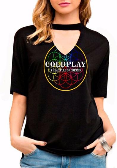 Camiseta Feminina Choker Coldplay Show