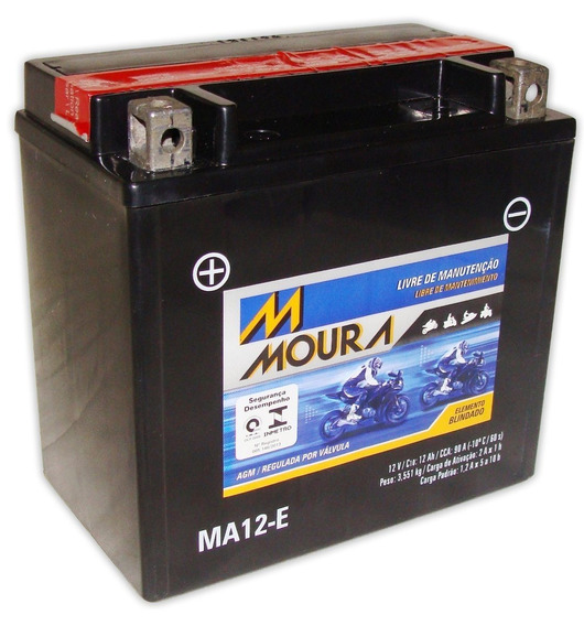 Bateria Moto Ma12-e Moura 12ah Suzuki Boulevard Strom Sv1000