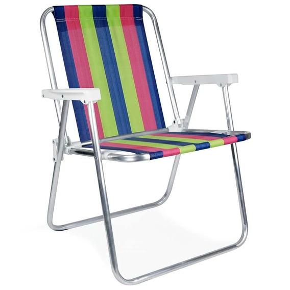 Cadeira De Praia Dobrável Em Alumínio Rosa, Azul E Verde Mor