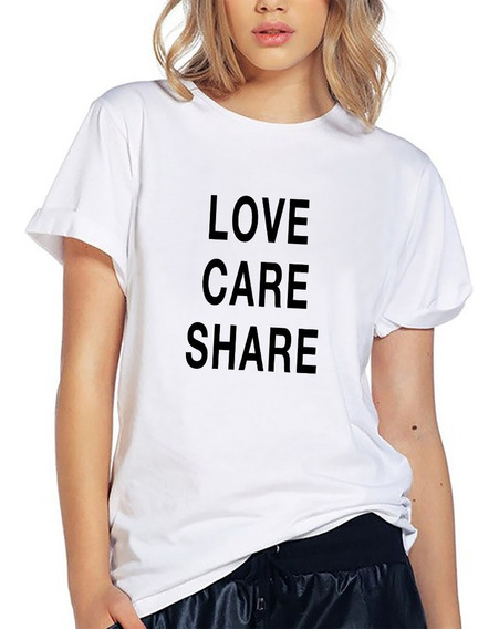 Blusa Playera Camiseta Dama Love Care Share Amor Elite #558