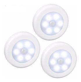 Kit 3 Luminária Sem Fio 6 Led Com Sensor Lampada Armario Imã