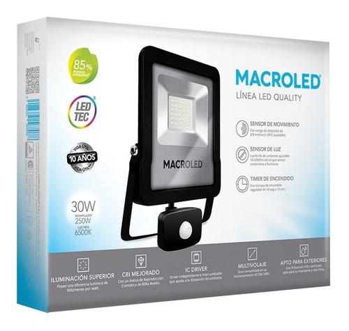 Imagen 1 de 4 de Macroled Reflector Led 30w Sensor Movimiento Frío 6500k